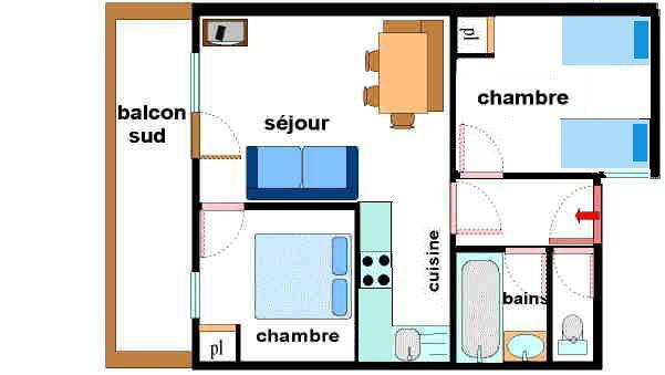 Vacances en montagne Appartement 3 pièces 6 personnes (F05) - Résidence Valmonts - Val Cenis - Plan