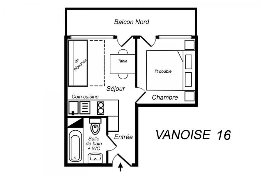 Vacances en montagne Appartement 2 pièces 3 personnes (016) - Résidence Vanoise - Méribel-Mottaret