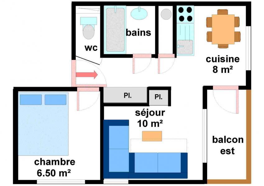 Vakantie in de bergen Appartement 2 kamers 5 personen (27) - Résidences du Quartier Napoléon - Val Cenis - Kaart