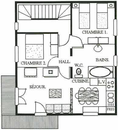 Vacances en montagne Appartement 3 pièces 4-6 personnes - Chalet le Chamois - Les Menuires - Plan