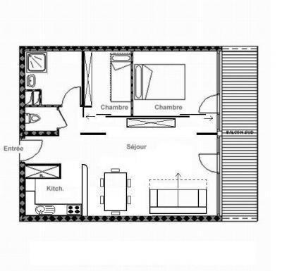 Vacances en montagne Appartement 3 pièces 6 personnes (607) - La Résidence Burons - Les Menuires - Plan