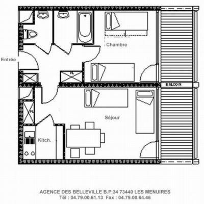 Vacances en montagne Appartement 2 pièces 5 personnes (721) - La Résidence la Chavière - Les Menuires - Plan