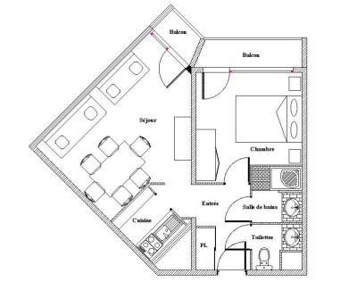 Vacances en montagne Appartement 2 pièces 5 personnes (635) - La Résidence la Chavière - Les Menuires - Plan