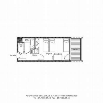 Vacances en montagne Studio 4 personnes (215) - La Résidence la Chavière - Les Menuires - Plan