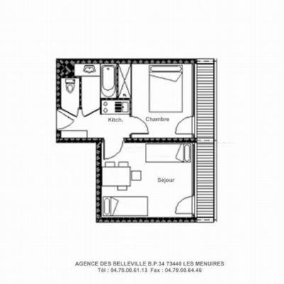 Vacances en montagne Appartement 2 pièces 4 personnes (228) - La Résidence la Chavière - Les Menuires - Plan