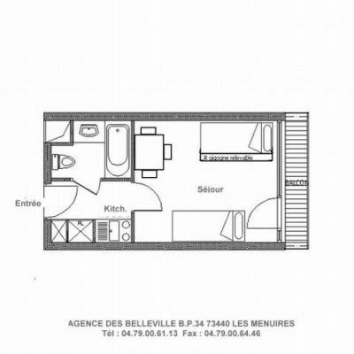 Vacances en montagne Studio 3 personnes (429) - La Résidence la Chavière - Les Menuires - Plan
