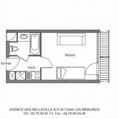 Vacances en montagne Studio 3 personnes (529) - La Résidence la Chavière - Les Menuires - Plan