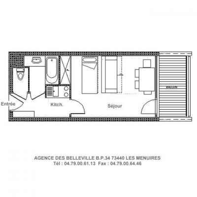 Vacances en montagne Studio 4 personnes (116) - La Résidence la Chavière - Les Menuires - Plan
