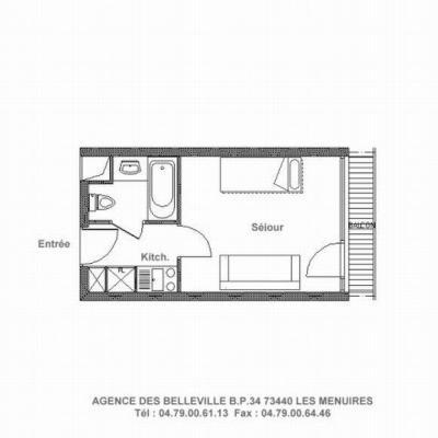Vacances en montagne Studio 3 personnes (226) - La Résidence la Chavière - Les Menuires - Plan