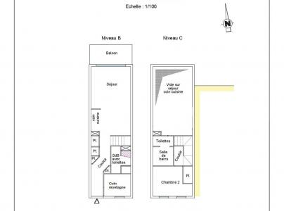 Holiday in mountain resort 2 room apartment 6 people (202) - La Résidence le Carrousel - Montchavin La Plagne - Plan