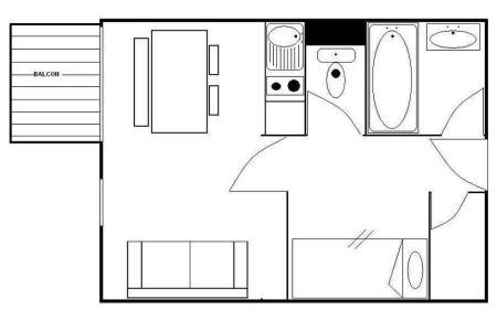 Holiday in mountain resort Studio sleeping corner 4 people (421) - La Résidence les Gentianes - Les Menuires