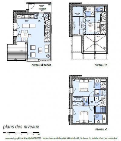 Holiday in mountain resort 4 room triplex chalet 6 people (Retreat) - Le Hameau de Caseblanche - Saint Martin de Belleville - Plan