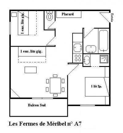 Vacances en montagne Appartement 3 pièces 6 personnes - Les Fermes de Méribel Village - Méribel - Plan