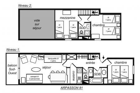 Vacances en montagne Appartement 3 pièces mezzanine 8 personnes (81) - Résidence Arpasson II - Méribel-Mottaret