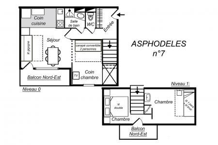 Vacances en montagne Appartement duplex 3 pièces 7 personnes (007) - Résidence Asphodèles - Méribel-Mottaret - Plan