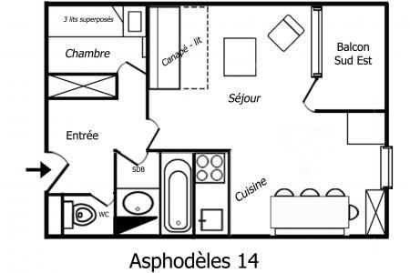 Vacances en montagne Appartement 2 pièces 4 personnes (14) - Résidence Asphodèles - Méribel-Mottaret - Logement