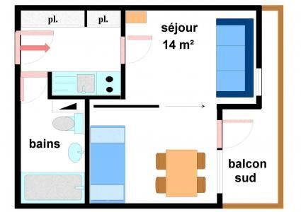 Vacances en montagne Studio 3 personnes (139) - Résidence Bouvreuil - Val Cenis - Plan