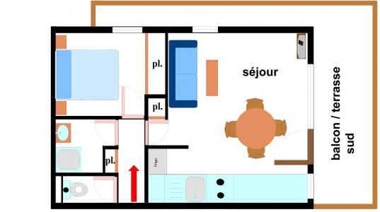 Vacances en montagne Appartement 2 pièces 4 personnes (142) - Résidence Bouvreuil - Val Cenis - Plan