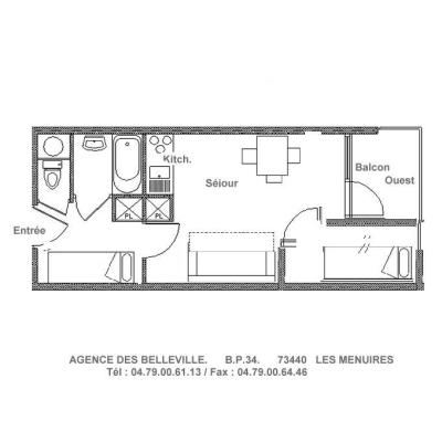 Holiday in mountain resort Studio cabin 4 people (081) - Résidence Carlines II - Les Menuires - Plan