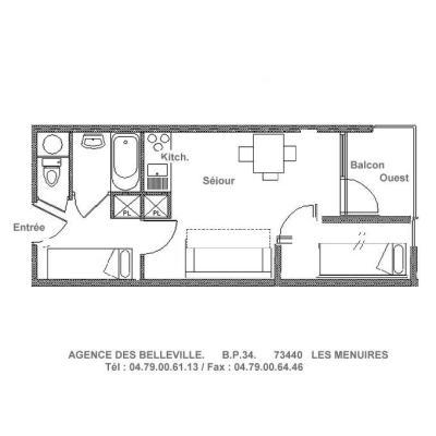 Vacances en montagne Studio cabine 4 personnes (081) - Résidence Carlines II - Les Menuires - Plan