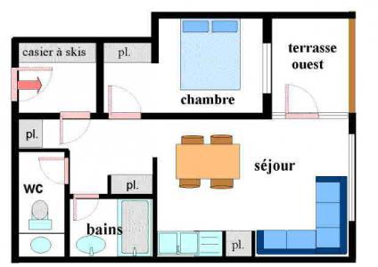 Vacances en montagne Appartement 2 pièces 5 personnes (004) - Résidence Chenevière - Val Cenis - Plan