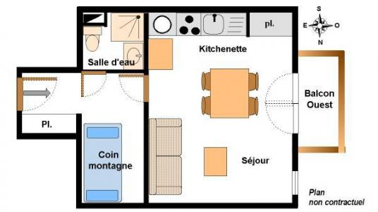 Vacances en montagne Studio coin montagne 4 personnes (123) - Résidence Chevallier - Val Cenis - Plan