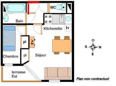 Vacances en montagne Appartement 2 pièces 4 personnes (001) - Résidence Chevallier - Val Cenis - Plan