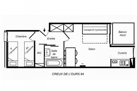 Vacances en montagne Appartement 2 pièces 4 personnes (084) - Résidence Creux de l'Ours Bleu - Méribel-Mottaret