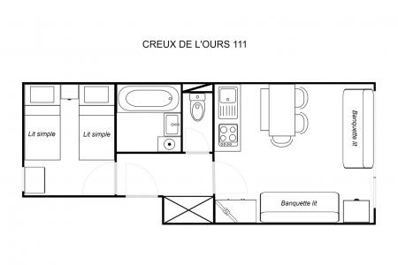 Vacances en montagne Appartement 2 pièces 4 personnes (111) - Résidence Creux de l'Ours Bleu - Méribel-Mottaret