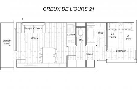 Vacances en montagne Appartement 2 pièces 4 personnes (21) - Résidence Creux de l'Ours Bleu - Méribel-Mottaret - Plan