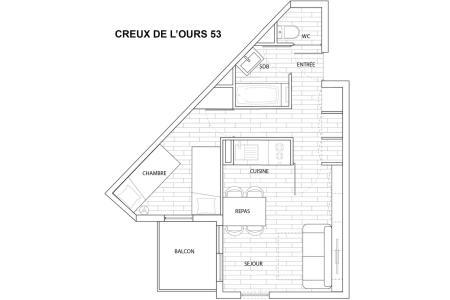 Vacances en montagne Appartement 2 pièces 4 personnes (53) - Résidence Creux de l'Ours Bleu - Méribel-Mottaret
