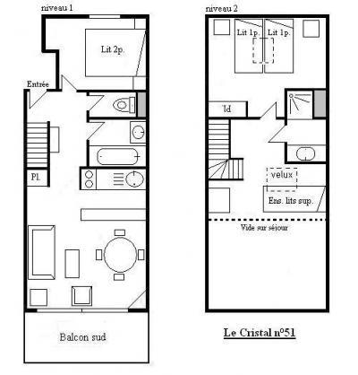 Vacances en montagne Appartement duplex 3 pièces 6 personnes (51) - Résidence Cristal - Méribel - Plan