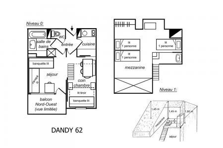 Holiday in mountain resort 2 room mezzanine apartment 5 people (062) - Résidence Dandy - Méribel-Mottaret - Plan