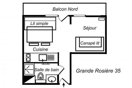 Vacances en montagne Studio divisible 3 personnes (35) - Résidence Grande Rosière - Méribel-Mottaret - Plan