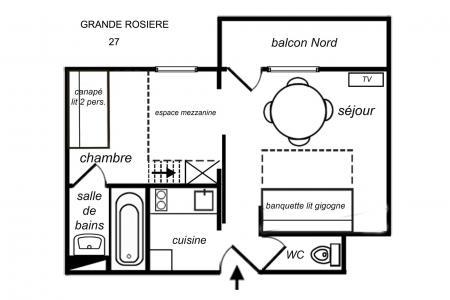 Vacances en montagne Studio 4 personnes (27) - Résidence Grande Rosière - Méribel-Mottaret - Plan
