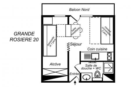 Vacances en montagne Studio cabine 3 personnes (20) - Résidence Grande Rosière - Méribel-Mottaret