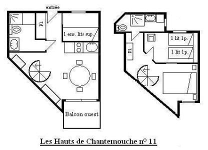 Vacances en montagne Appartement 3 pièces 6 personnes (11) - Résidence Hauts de Chantemouche - Méribel - Plan