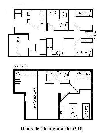 Vacances en montagne Appartement duplex 5 pièces 8 personnes (18) - Résidence Hauts de Chantemouche - Méribel - Plan