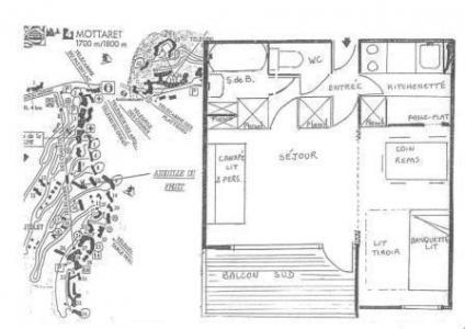 Vacances en montagne Studio 4 personnes (04) - Résidence l'Aiguille du Fruit - Méribel-Mottaret - Plan