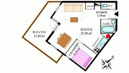 Vacances en montagne Appartement 2 pièces 4 personnes (306) - Résidence la Combe II - Aussois