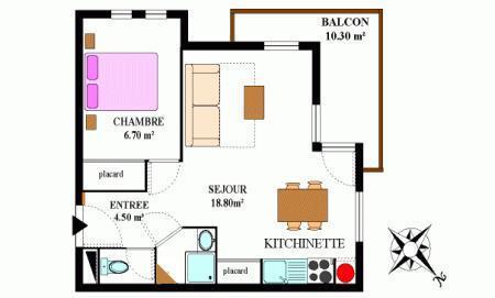 Vacances en montagne Appartement 2 pièces 4 personnes (324M) - Résidence la Combe II - Aussois