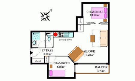 Vacances en montagne Appartement 2 pièces coin montagne 6 personnes (334M) - Résidence la Combe II - Aussois - Plan