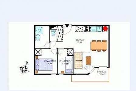 Vacances en montagne Appartement 3 pièces 6 personnes (434) - Résidence la Combe III - Aussois - Plan