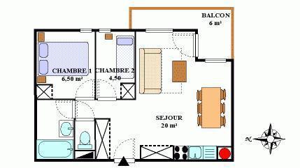 Vacances en montagne Appartement 3 pièces 6 personnes (431) - Résidence la Combe III - Aussois - Plan