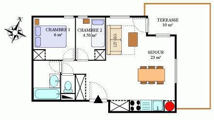 Vacances en montagne Appartement 3 pièces 6 personnes (407) - Résidence la Combe III - Aussois - Plan