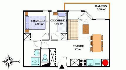 Vacances en montagne Appartement 3 pièces 6 personnes (411) - Résidence la Combe III - Aussois - Plan