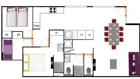 Vacances en montagne Appartement 4 pièces 8 personnes (400) - Résidence la Combe III - Aussois - Plan