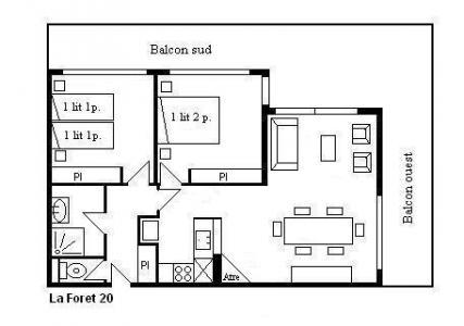 Vacances en montagne Appartement 3 pièces 6 personnes (20) - Résidence la Forêt - Méribel - Plan