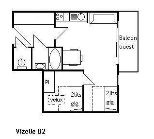 Vacances en montagne Appartement 2 pièces 4 personnes (B2) - Résidence la Vizelle - Méribel - Plan
