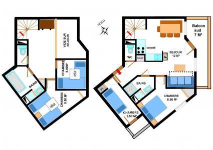 Vacances en montagne Appartement duplex 5 pièces 10 personnes (B37) - Résidence le Bonheur des Pistes - Val Cenis - Plan